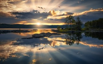 the sky, clouds, trees, lake, sunset, reflection, horizon