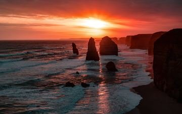 небо, облака, скалы, природа, закат, море, горизонт, австралия, двенадцать апостолов, the twelve apostles