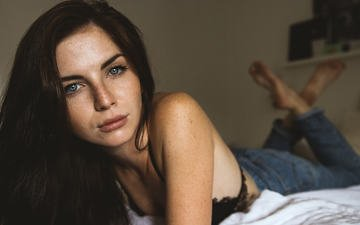 girl, brunette, look, model, jeans, hair, face, bra, katharina wagner