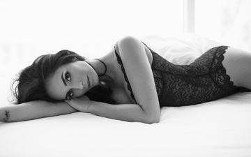 brunette, black and white, model, underwear, erotic, klaudia fedorczuk, lukasz ratajak