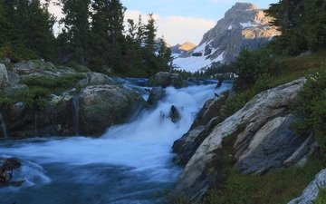 trees, river, mountains, nature, yellowstone national park, waterfall, wyoming