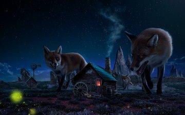 небо, ночь, скалы, звезды, домик, лисы, великаны