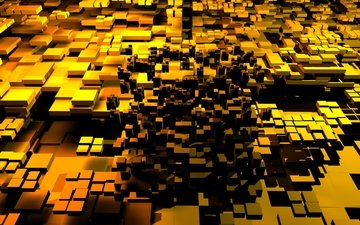 дизайн, кубики, квадраты, золото, 3д