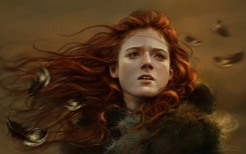 art, girl, red, face, feathers, freckles, game of thrones, ygritte