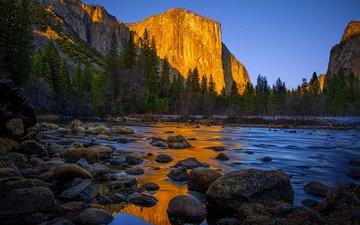 озеро, река, горы, природа, камни, калифорния, йосемити, йосемитский национальный парк, сьерра-невада