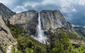 горы, природа, пейзаж, водопад, национальный парк, йосемите