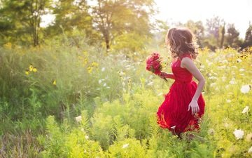 flowers, nature, girl, meadow, hair, bouquet, red dress