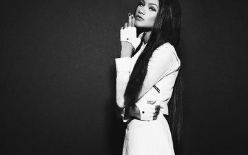 девушка, чёрно-белое, лицо, актриса, певица, длинные волосы, знаменитость, зендая, зендая коулман
