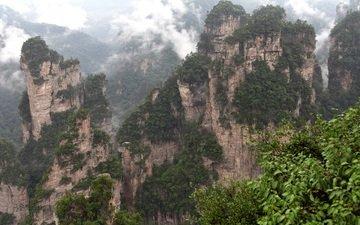 горы, скалы, природа, туман, китай, zhangjiajie national forest park, zhangjiajie national park, чжанцзяцзе