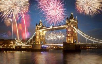 ночь, огни, мост, лондон, город, англия, фейерверк, тауэрский мост