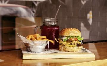 drink, hamburger, burger, fast food, french fries