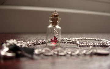 pendant, decoration, chain, bottle