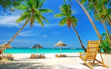 море, песок, пляж, пальмы, отдых, зонтики
