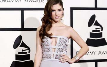 girl, look, hair, face, actress, singer, neckline, anna kendrick, bare shoulders, grammy