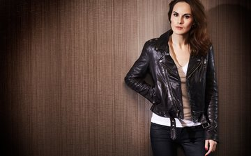 girl, look, hair, face, actress, singer, leather jacket, michelle dockery