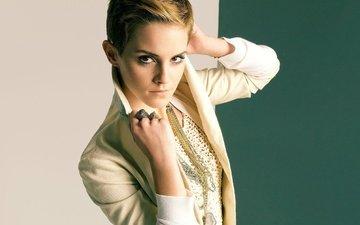 девушка, взгляд, модель, лицо, актриса, эмма уотсон, стрижка, знаменитость