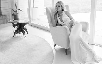 girl, dress, look, black and white, room, hair, face, chair, actress, vogue, nicola peltz