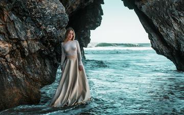 скалы, девушка, море, модель, лицо, длинные волосы, яна, pedro courelas