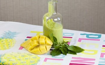 pineapple, tablecloth, mango, basil, smoothies
