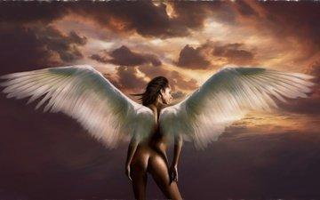 art, girl, fiction, wings, angel, profile