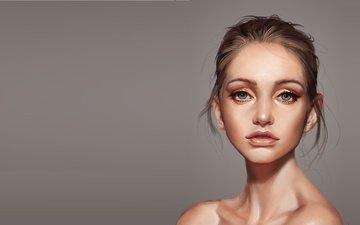арт, девушка, портрет, взгляд, волосы, лицо, голые плечи, victor lozada