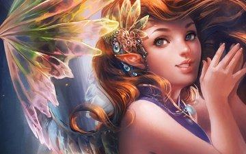 art, decoration, girl, background, wings, fairy, hair, ears, elf, fantasy