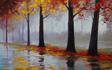 арт, рисунок, деревья, листья, парк, осень, дождь, лужи