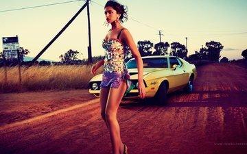 дорога, девушка, поза, авто, модель, ножки, знаменитость, дипика падуконе, aктриса