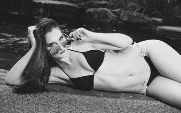 girl, brunette, look, glasses, black and white, hair, face, swimsuit