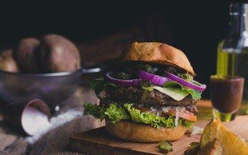 зелень, бутерброд, гамбургер, лук, котлета