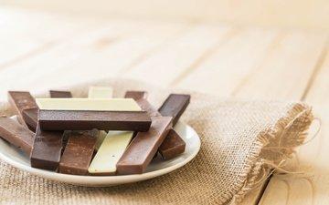 черный, белый, шоколад, сладкое, десерт, молочный, мешковина