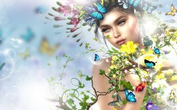 flowers, art, girl, look, spring, face, butterfly