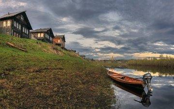 lake, village, boat, home, arkhangelsk oblast, kimzha