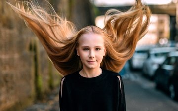 smile, look, girl, hair, face, the wind, zubair aslam