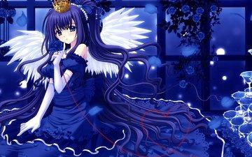 цветы, украшения, девушка, платье, розы, крылья, аниме, ангел, голубые глаза, ленты, синие волосы, длинные волосы