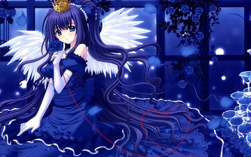 flowers, decoration, girl, dress, roses, wings, anime, angel, blue eyes, tape, blue hair, long hair