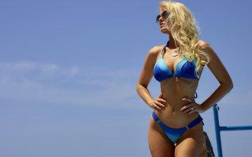 girl, blonde, glasses, hair, face, figure, swimsuit