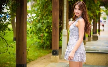 girl, dress, smile, summer, look, hair, face, asian