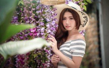 цветы, девушка, взгляд, волосы, лицо, шляпа, азиатка, боке