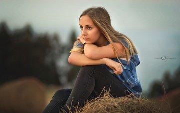 девушка, настроение, взгляд, джинсы, волосы, лицо, боке