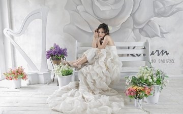 flowers, girl, pose, look, legs, hair, bench, face, asian, white dress, the bride, bouquets
