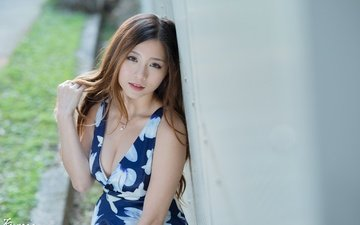 girl, dress, pose, look, hair, face, makeup, hairstyle, asian, brown hair, neckline