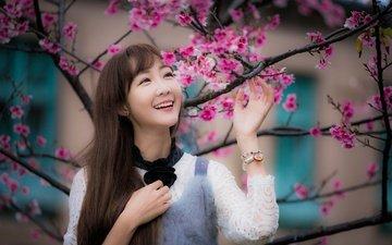 девушка, улыбка, ветки, взгляд, весна, волосы, лицо, сакура, азиатка
