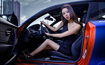 girl, machine, look, hair, face, asian, bmw, the wheel, sitting