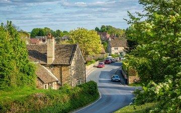 дорога, деревня, дома, улица, англия, машины, автомобили, lacock