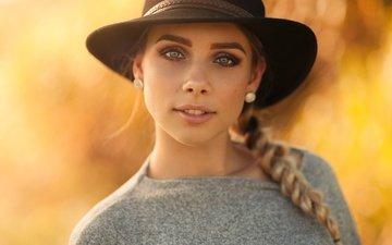 девушка, фон, блондинка, портрет, взгляд, модель, макияж, шляпа, боке, косичка