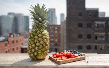 фрукты, клубника, город, ягоды, черника, ананас