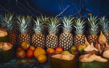 фрукты, апельсины, ананасы, манго, кокосы