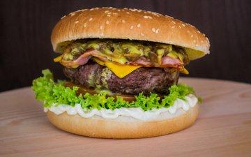 гамбургер, котлета, овощи, булочки, бургер