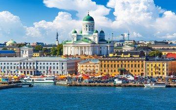 город, причал, архитектура, здания, порт, финляндия, хельсинки